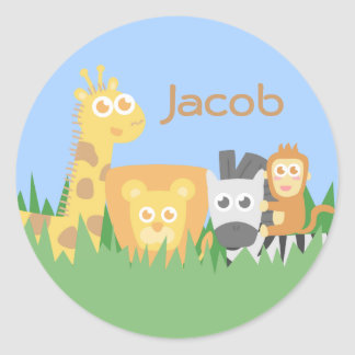Cute and Colourful Safari Animals Classic Round Sticker