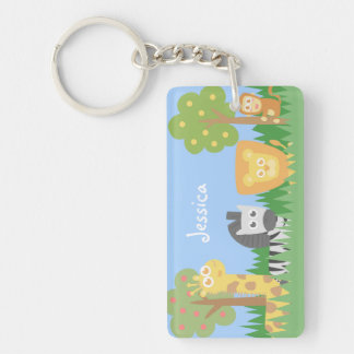Cute and colourful Safari Animals, for kids Double-Sided Rectangular Acrylic Key Ring