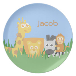 Cute and Colourful Safari Animals, for Kids Plate
