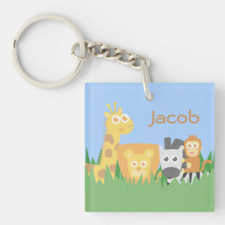 Cute and Colourful Safari Animals Double-Sided Square Acrylic Key Ring