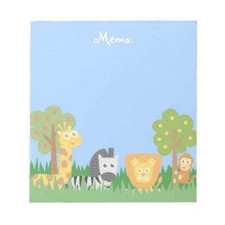 Cute and Colourful Safari Animals Theme Notepad