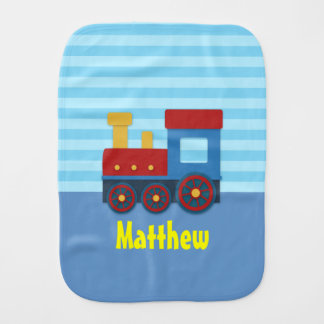 Cute and Colourful Train for Baby Boy Burp Cloth