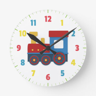 Cute and Colourful Train for Boys Bedroom Round Clock