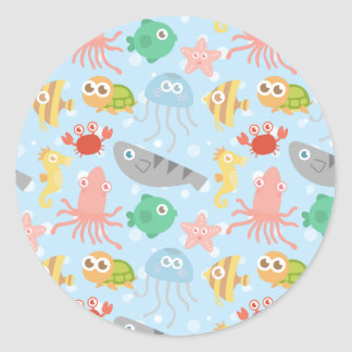 Cute and Colourful Underwater Animals Pattern Classic Round Sticker