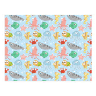 Cute and Colourful Underwater Animals Pattern Postcard