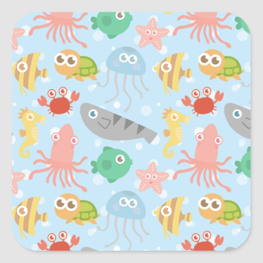 Cute and Colourful Underwater Animals Pattern Square Sticker