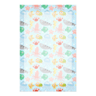 Cute and Colourful Underwater Animals Pattern Stationery