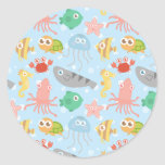 Cute and Colourful Underwater Animals Pattern Round Sticker