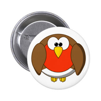 Cute and Crazy Robin Red Breast Cartoon Bird 6 Cm Round Badge