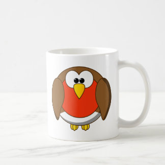Cute and Crazy Robin Red Breast Cartoon Bird Coffee Mug