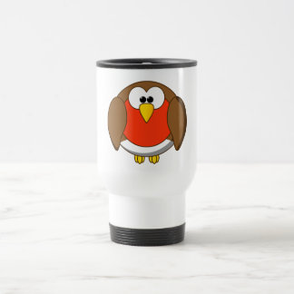 Cute and Crazy Robin Red Breast Cartoon Bird Travel Mug