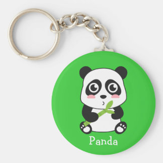 Cute and Cuddly Baby Panda Basic Round Button Key Ring