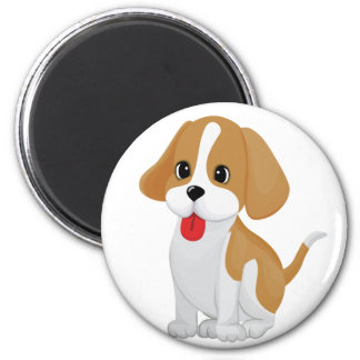 Cute and Cuddly Puppy 6 Cm Round Magnet