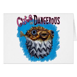 Cute And Dangerous Puffer Fish Blue Card
