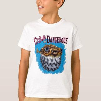 Cute And Dangerous Puffer Fish Blue T Shirt