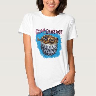 Cute And Dangerous Puffer Fish Blue Tee Shirts