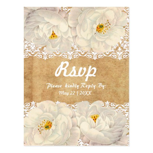 Cute and elegant white roses and lace postcard