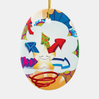 Cute and excited star bursting through clouds christmas ornament