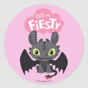 """""""Cute And Fiesty"""" Toothless Graphic Classic Round Sticker"""