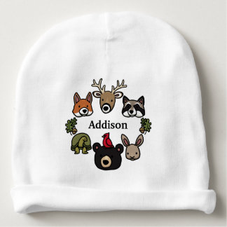 Cute and Friendly Forest Animals, Add Child's Name Baby Beanie