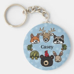 Cute and Friendly Forest Animals, Add Child's Name Basic Round Button Key Ring