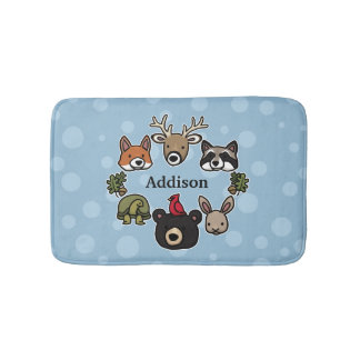 Cute and Friendly Forest Animals, Add Child's Name Bath Mat