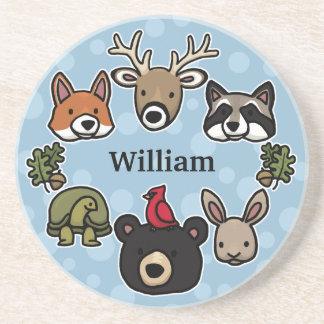 Cute and Friendly Forest Animals, Add Child's Name Beverage Coaster