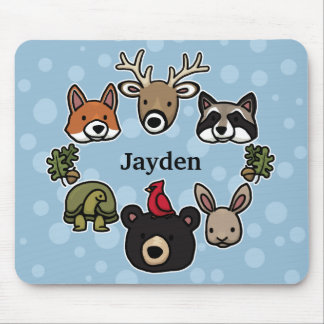 Cute and Friendly Forest Animals, Add Child's Name Mouse Pad
