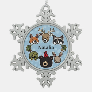 Cute and Friendly Forest Animals, Add Child's Name Snowflake Pewter Christmas Ornament