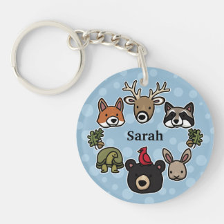Cute and Friendly Forest Animals, Add Your Name Double-Sided Round Acrylic Key Ring