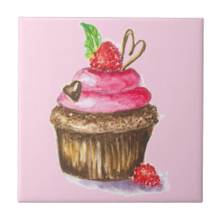 Cute and Fun Chocolate, Raspberry Cupcake Tile