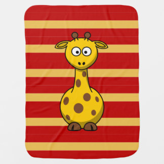 Cute and Fun Giraffe on Stripes Pattern Baby Blankets