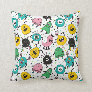 Cute And Fun Monsters Throw Pillow