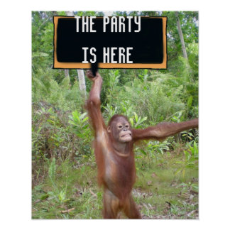Cute and Fun Party Time Location Poster