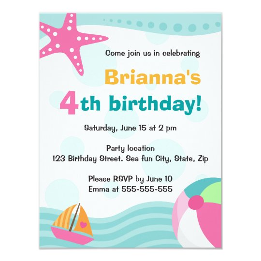 Cute and fun pool or beach party invite for kids
