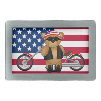 Cute and Fun Teddy Bear Biker Cartoon Mascot Belt Buckle