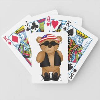 Cute and Fun Teddy Bear Biker Cartoon Mascot Bicycle Playing Cards