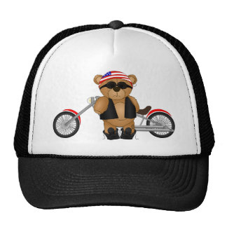 Cute and Fun Teddy Bear Biker Cartoon Mascot Cap