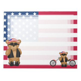 Cute and Fun Teddy Bear Biker Cartoon Mascot Notepad