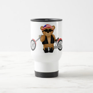 Cute and Fun Teddy Bear Biker Cartoon Mascot Travel Mug