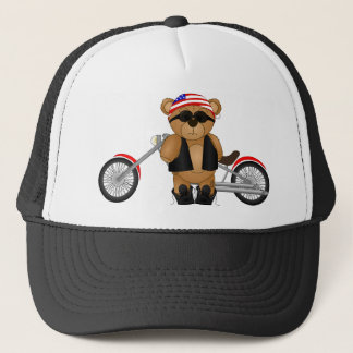 Cute and Fun Teddy Bear Biker Cartoon Mascot Trucker Hat