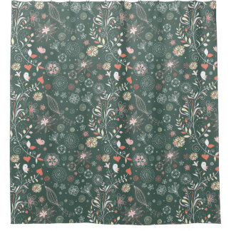 Cute and Funky Floral Bird Pattern Shower Curtain