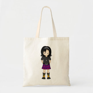 Cute and Funky Little Emo or Goth Girl Cartoon Budget Tote Bag