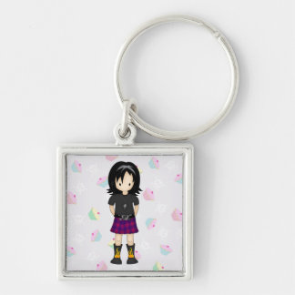 Cute and Funky Little Emo or Goth Girl Cartoon Key Ring