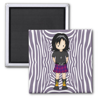 Cute and Funky Little Emo or Goth Girl Cartoon Magnet