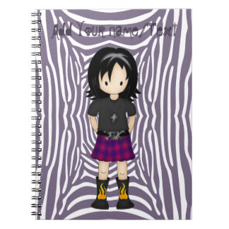 Cute and Funky Little Emo or Goth Girl Cartoon Notebook