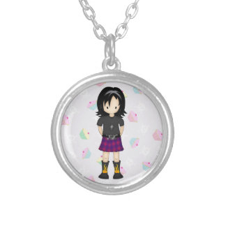 Cute and Funky Little Emo or Goth Girl Cartoon Silver Plated Necklace