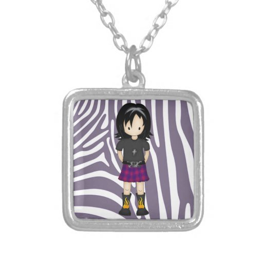 Cute and Funky Little Emo or Goth Girl Cartoon Square Pendant Necklace