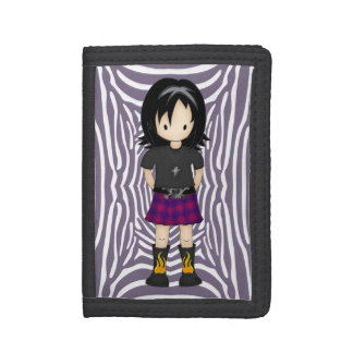 Cute and Funky Little Emo or Goth Girl Cartoon Tri-fold Wallet