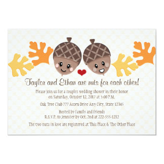 Cute and Funny Acorn Couples Wedding Shower 13 Cm X 18 Cm Invitation Card
